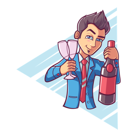 Cute boy holding wine bottle and glass Illustration