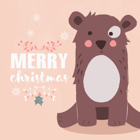 Cute brown bear on pink background and Merry Christmas lettering Illustration