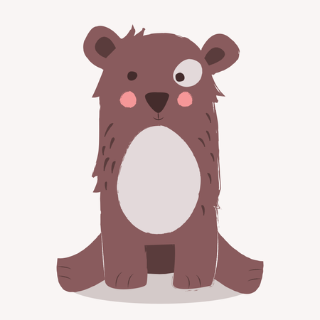 Cute brown bear sitting on the ground on beige background Illustration