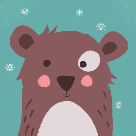Cute brown bear with snowflakes on blue background Illustration