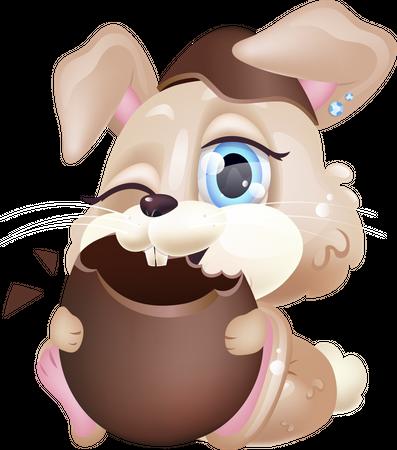 Cute bunny eating chocolate egg Illustration