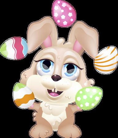 Cute bunny juggling eggs Illustration