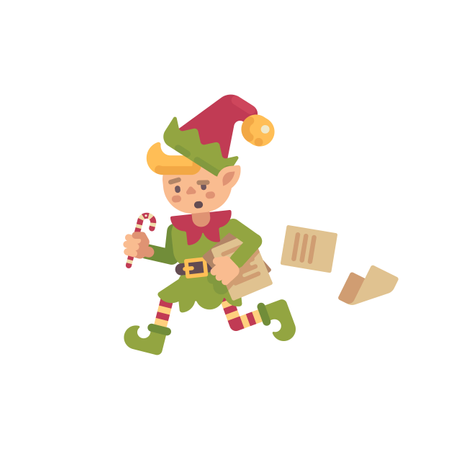 Cute Busy Christmas Elf Running With Papers And Letters Illustration