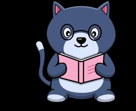 Cute Cat Reading Book Illustration
