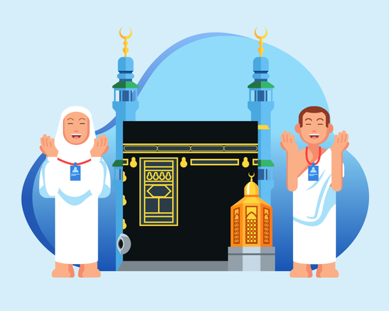 Cute couple  muslim pilgrims in front of  Kaaba and maqam Ibrahim. Suitable for info graphic. Illustration