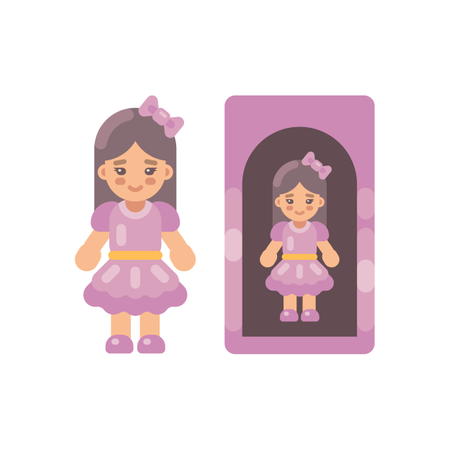 Cute Doll In Pink Dress In A Box Illustration