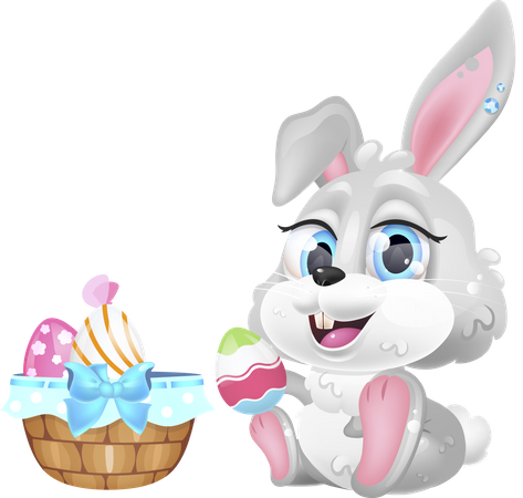 Cute Easter hare with eggs basket Illustration