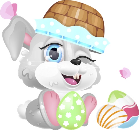 Cute Easter rabbit with basket on head Illustration