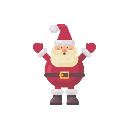 Cute Fat Santa Claus Flat Illustration Illustration