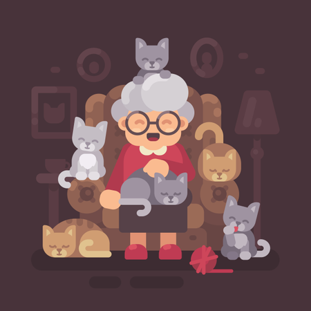 Cute Granny Sitting In Armchair With Her Cats