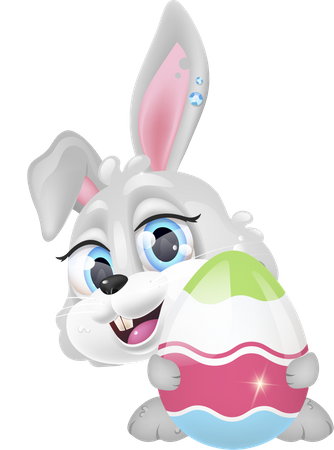 Cute happy bunny holding decorated egg Illustration
