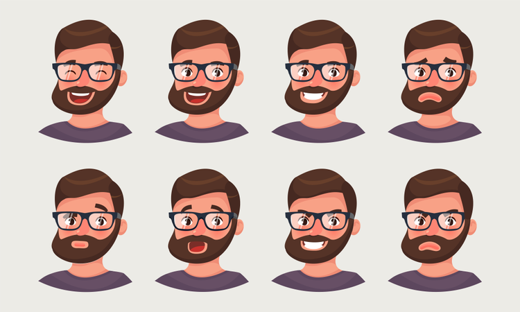 Cute hipster businessman showing different emotions Illustration