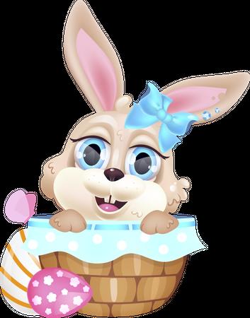 Cute little bunny sitting in basket Illustration