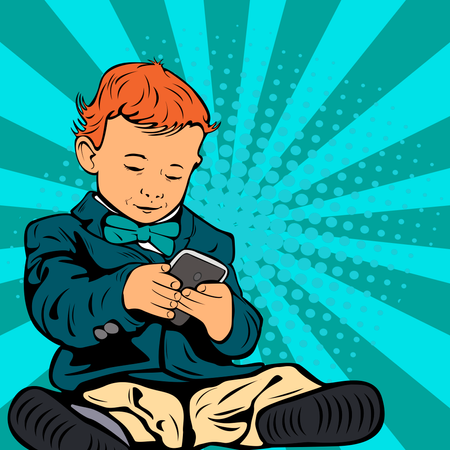 Cute little child is talking on his smartphone sitting in his business suit Illustration