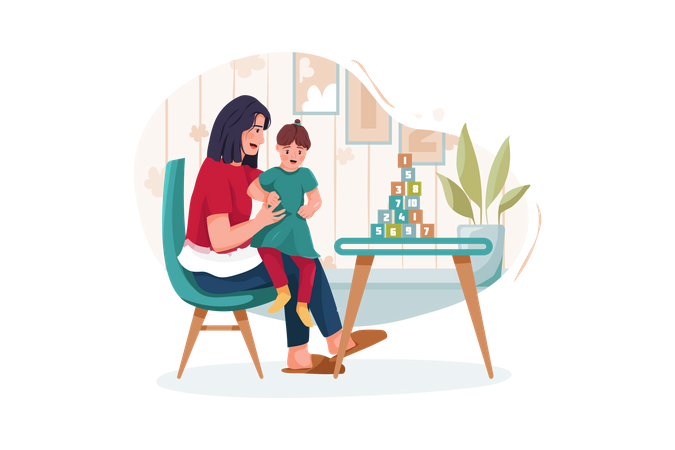 Cute little girl with young mother playing at table Illustration