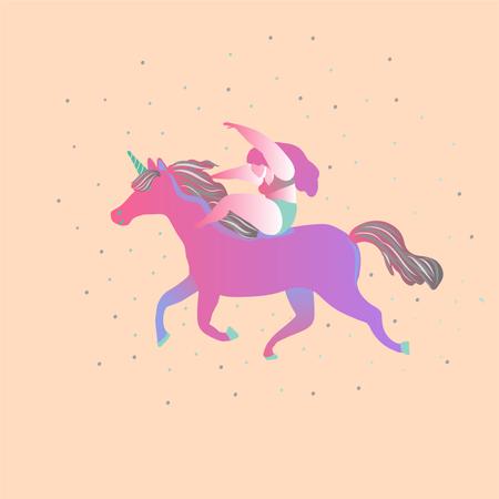 Cute magic Unicorns on a floral background Illustration