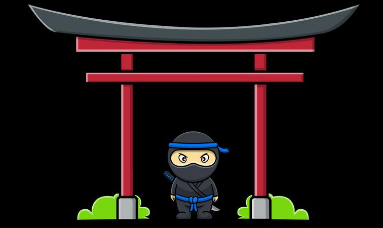 Cute Ninja With Japanese Torii Gate Illustration