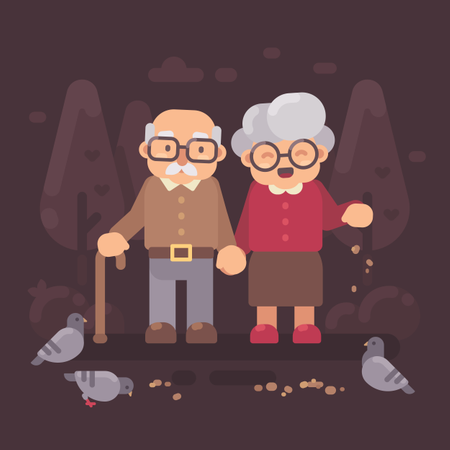Cute Old Couple Walking In The Park And Feeding Pigeons Illustration