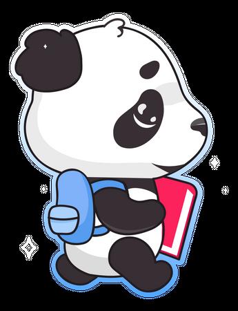Cute panda back to school Illustration