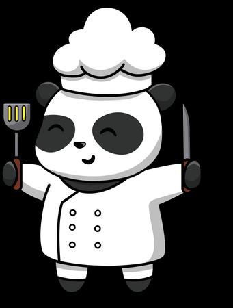 Cute Panda Chef Holding Spatula And Knife Illustration