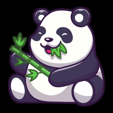 Cute panda eating leaf Illustration