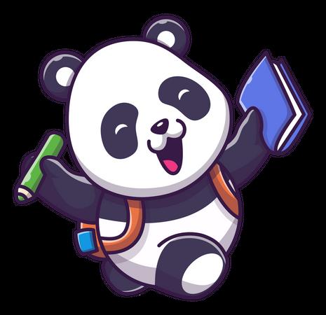 Cute panda going school Illustration