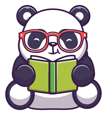Cute panda reading book Illustration