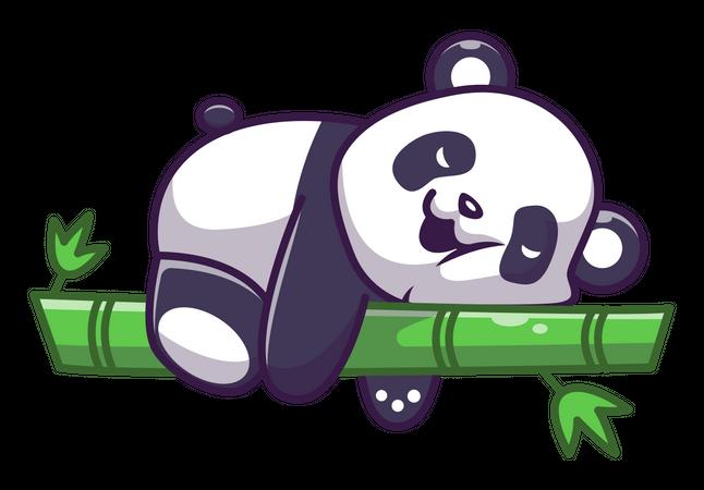 Cute panda sleeping on bamboo stick Illustration