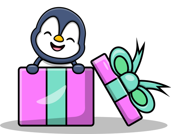 Cute Penguin In Gifts Box Illustration