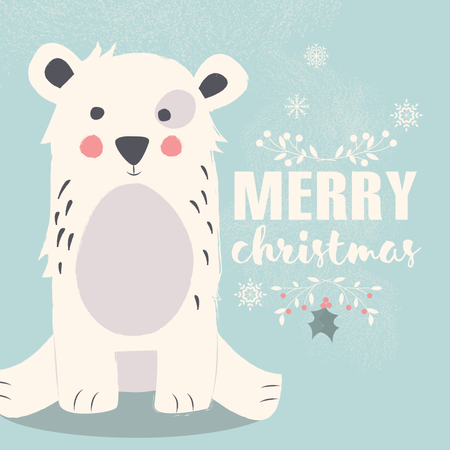 Cute polar bear on blue background and Merry Christmas lettering Illustration