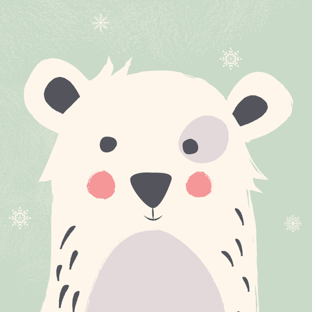 Cute polar bear with snowflakes on green background Illustration