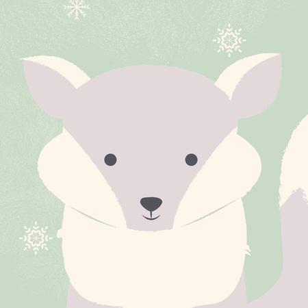 Cute polar white baby fox on green Christmas background Illustration