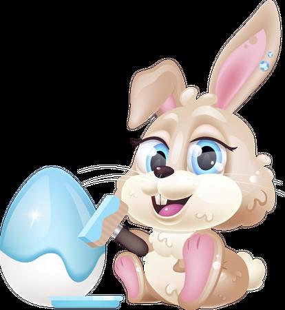 Cute rabbit decorating Pascha egg Illustration