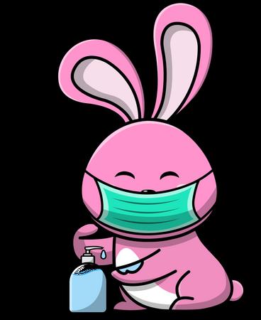 Cute Rabbits Using Mask And Hand Sanitizer Illustration