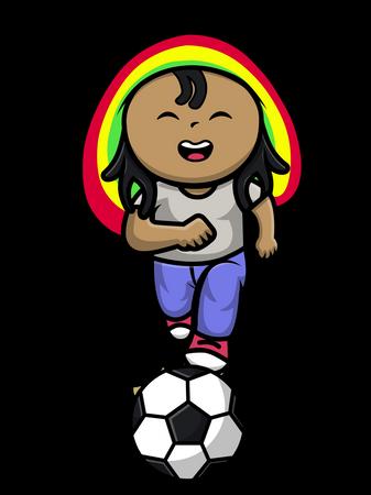 Cute Reggae Boy Playing Football Illustration