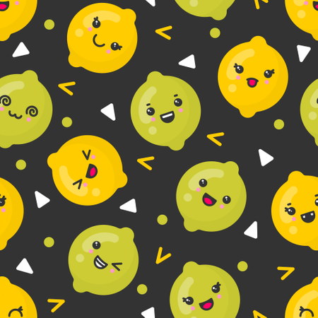 Cute smiling lemon and lime fruits, vector seamless pattern on dark background Illustration