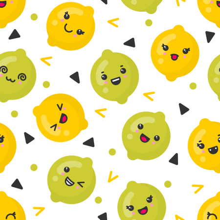 Cute smiling lemon and lime fruits, vector seamless pattern on white background Illustration