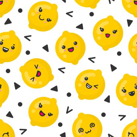 Cute smiling lemon fruits, vector seamless pattern on white background Illustration