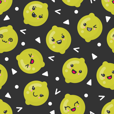 Cute smiling lime fruits, vector seamless pattern on dark background Illustration