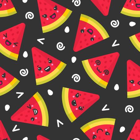 Cute smiling watermelon, vector seamless pattern on dark background Illustration