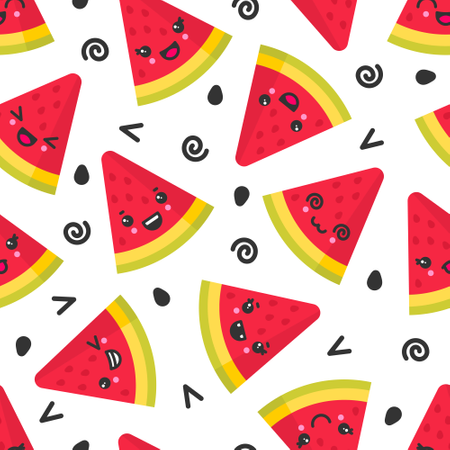 Cute smiling watermelon, vector seamless pattern on white background Illustration