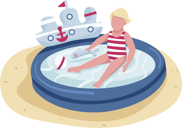 Cute toddler playing with toys in inflatable pool Illustration