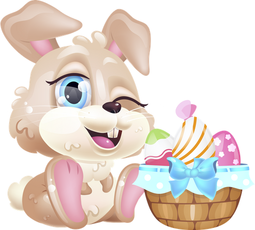 Cute winking Easter hare Illustration