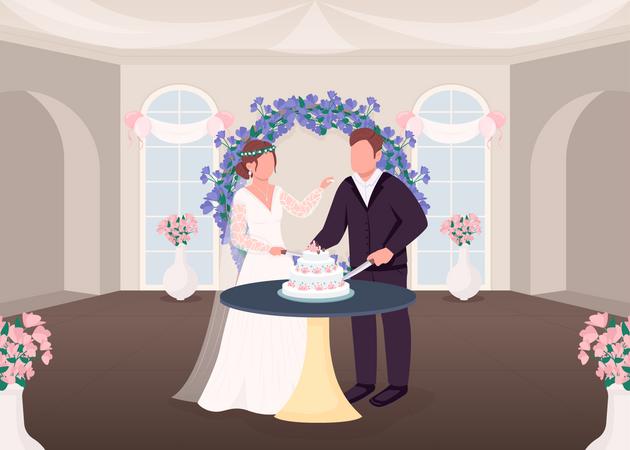Cutting cake tradition Illustration