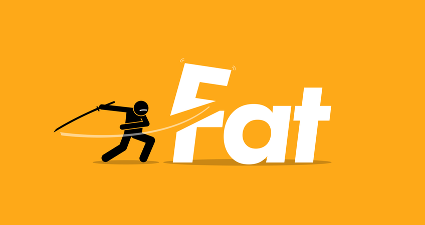 Cutting unhealthy fat food for healthy diet. Vector artwork concept of healthy lifestyle, good diet, and stop eating trans fats. Illustration