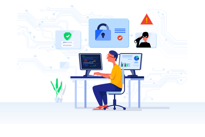Cyber security analyst Illustration