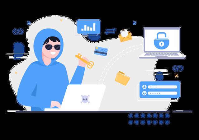 Cyber security hack Illustration