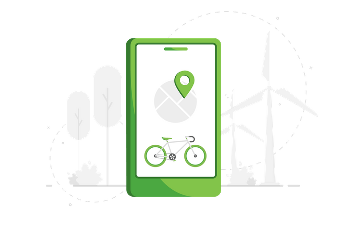 Cycle Tracker on mobile map Illustration