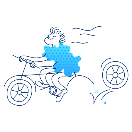 Cycling driver lost a wheel Illustration