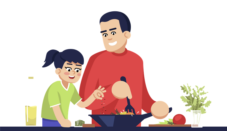 Dad And Daughter Cooking Meal Illustration